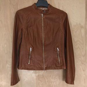 Fawn Leather Moto Jacket